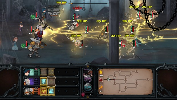 Has-Been Heroes screenshot featuring a Monk casting lightning