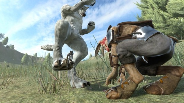 Bunny and wolf characters fighting in Overgrowth