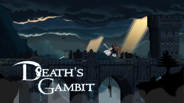 Death's Gambit screenshot of a boss fight on the bridge