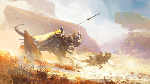 Guild Wars 2: Path of Fire concept artwork for the Crystal Desert and Raptor mount