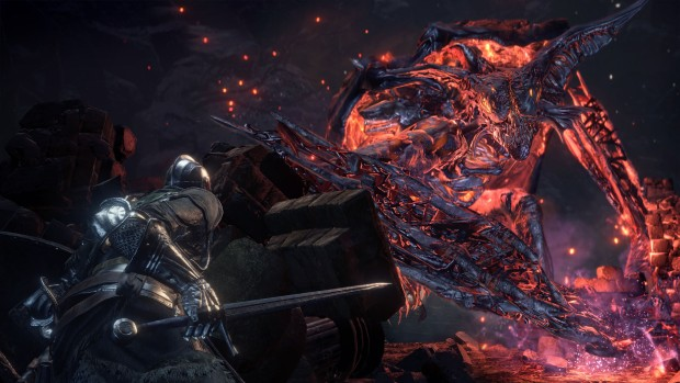 Dark Souls 3 The Ringed City DLC screenshot featuring the greater bat demon boss