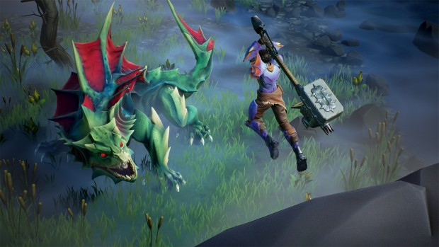 Dauntless screenshot of a man with a giant hammer fighting a dinosaur