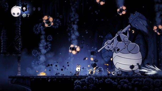Hollow Knight screenshot of a battle with the false knight