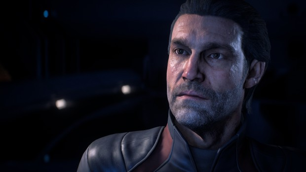 Mass Effect: Andromeda close-up on a grizzled male pathfinder
