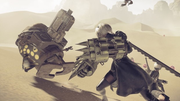 Close quarters combat screenshot from the upcoming RPG NieR: Automata