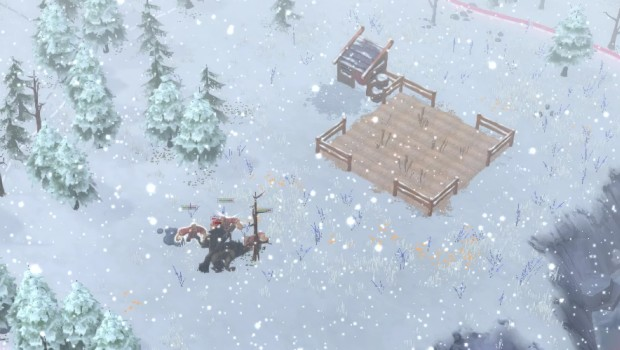 Northgard screenshot showcasing a blizzard and dire wolves