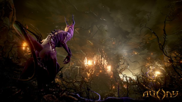 Agony screenshot of the floating forest in hell