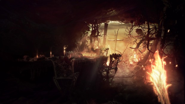 Agony screenshot of a table, chairs, and a cross