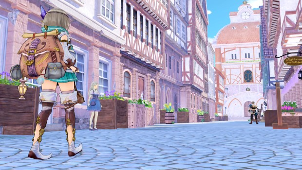 Atelier Firis screenshot of the main character walking down a street