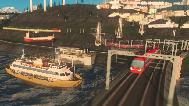 Cities: Skylines Mass Transit screenshot showing off a ferry and monorail
