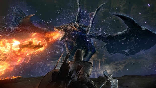 Dark Souls 3: The Ringed City DLC screenshot of a mighty dragon