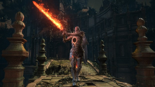 Dark Souls 3's The Ringed City dlc screenshot of a hollow knight and a flaming sword