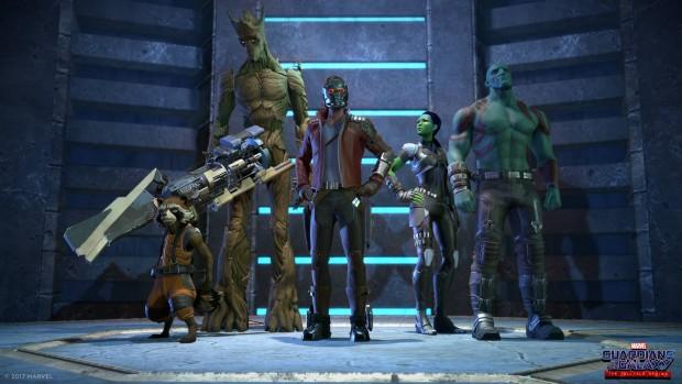 Guardians of the Galaxy Telltale Series lineup showing all of the cast
