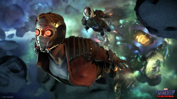 Guardians of the Galaxy Starlord flying through space artwork from Telltale's series