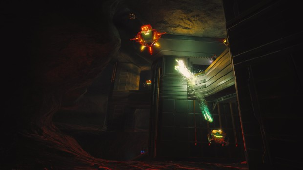 Screenshot from Overload showcasing a land mine