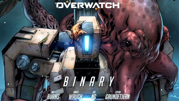 The official cover artwork for the Overwatch comic about Bastion - Binary