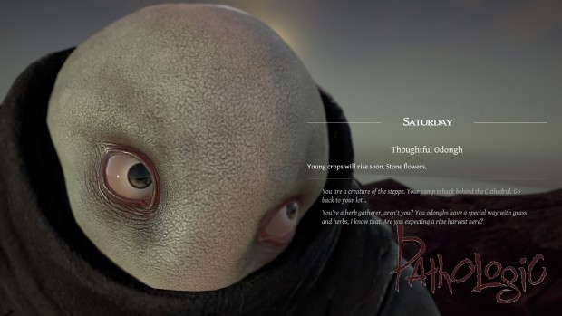 Pathologic screenshot of a dialogue with a thoughtful Odongh