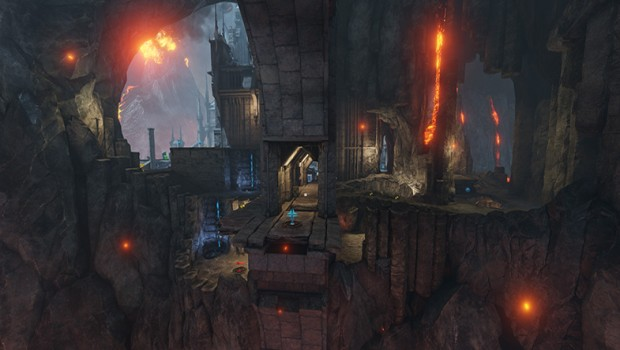 Quake Champions Burial Chamber arena screenshot of the cliffside