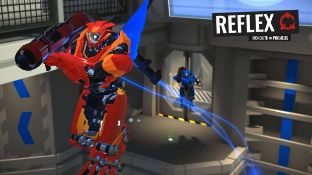 Reflex Arena screenshot of two robots rocket jumping