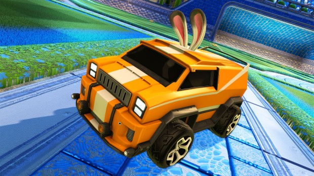 Rocket League car with bunny ears