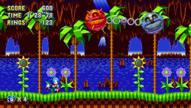 Sonic Mania screenshot of a boss fight