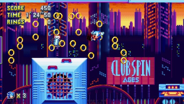 Sonic Mania screenshot showing a bunch of rings