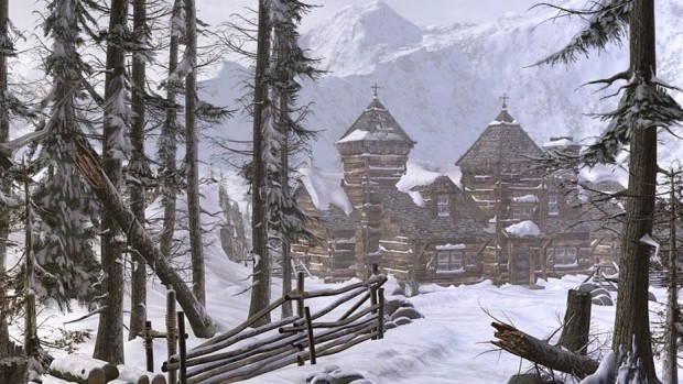 Syberia 2 official screenshot of a snow-swept house