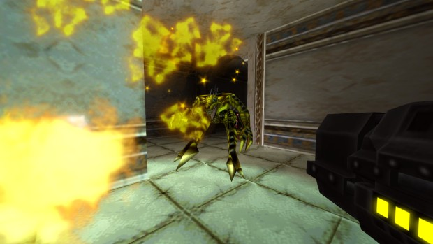 Turok 2: Seeds of Evil remaster screenshot showcasing yellow dinosaur men