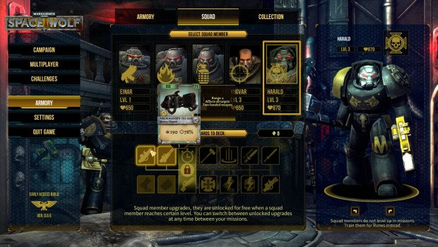 Warhammer 40k: Space Wolf screenshot showing the various classes