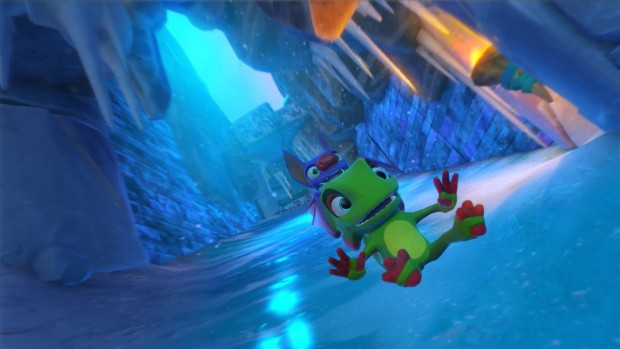 Yooka-Laylee Glitterglaze Glacier screenshot of a large slide
