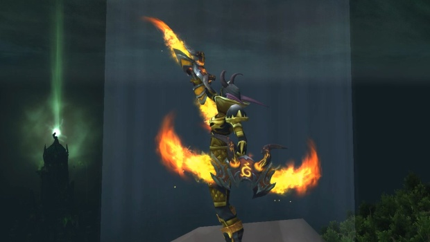 Demon Hunter flamereaper weapon from World of Warcraft's Mage Tower challenge Closing the Eye