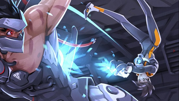 Overwatch Uprising comic screenshot showing Genji and Tracer fighting