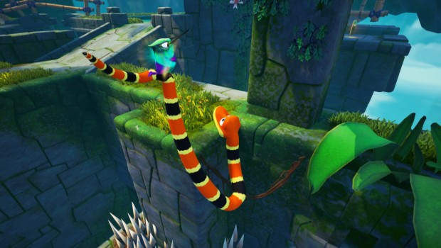 Snake Pass screenshot of Noodle dangling above spikes