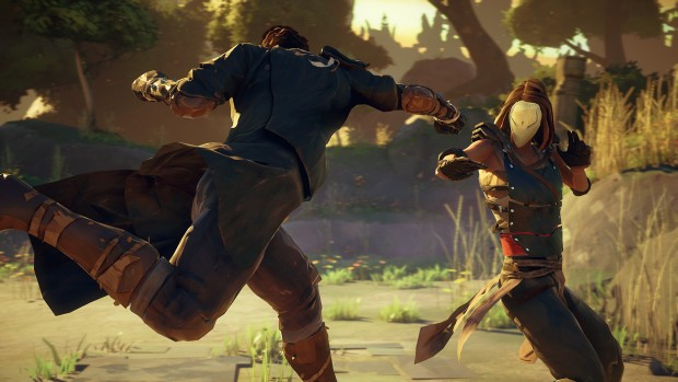 Absolver screenshot showing two characters in a fight