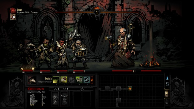 Darkest Dungeon The Crimson Court screenshot of a boss fight