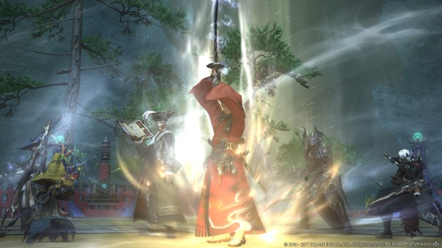 Final Fantasy 14 screenshot of a Red Mage casting a spell