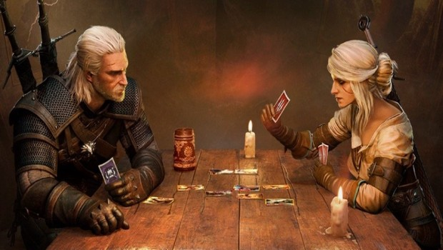 Gwent artwork featuring Geralt and Ciri playing a match