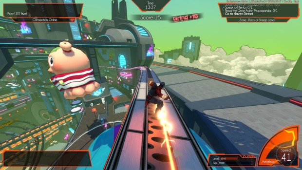 Hover: Revolt of Gamers screenshot of red skates