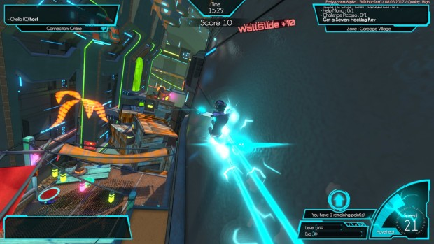 Hover: Revolt of Gamers screenshot of some wall-riding action