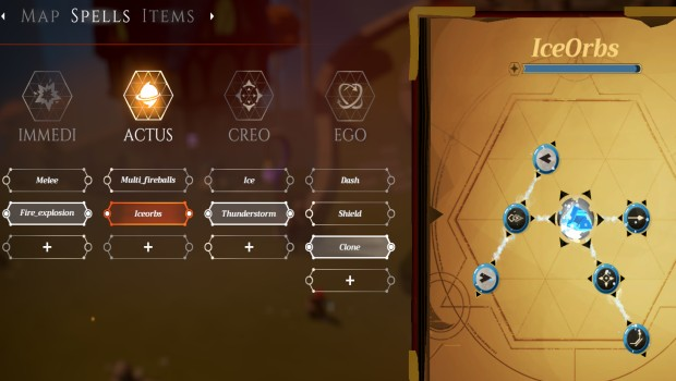 Mages of Mystralia screenshot of crafting ice spells