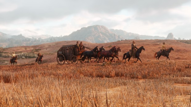 Red Dead Redemption 2 screenshot of a convoy