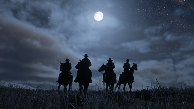 Red Dead Redemption 2 screenshot showing riders cloaked in shadows