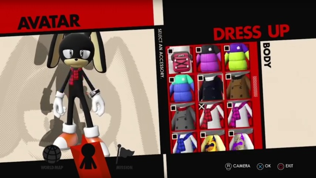 Sonic Forces screenshot of the character creator