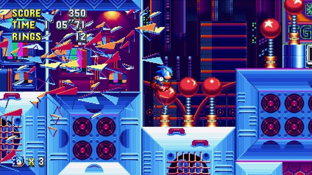 Sonic Mania screenshot of Sonic breaking through an obstacle