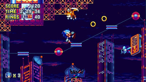 Sonic Mania screenshot of Sonic nearly falling over