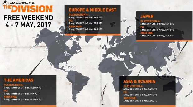 The Division May 2017 free weekend schedule
