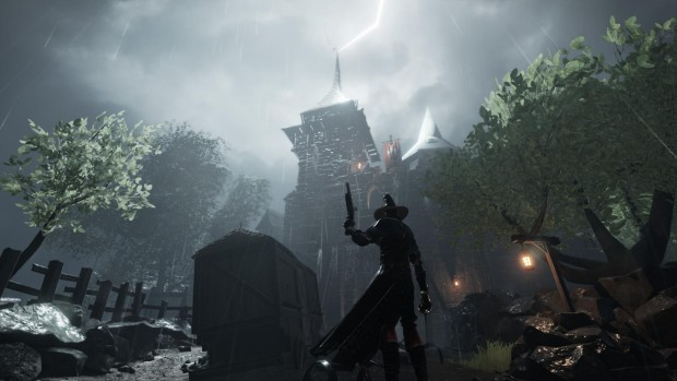 Warhammer: End Times - Vermintide's Stromdorf DLC screenshot of an old church and a Witch Hunter