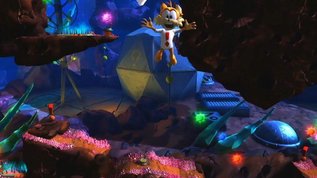 Bubsy: The Woolies Strike Back screenshot of Bubsy falling into the screen