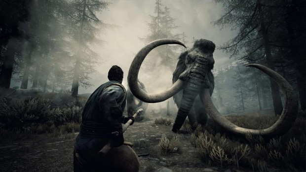 Conan Exiles fighting against a mammoth in the dark