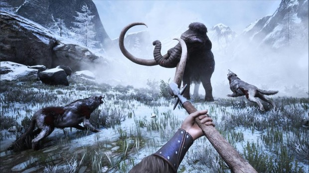 Conan Exiles The Frozen North expansion screenshot of a mammoth hunt